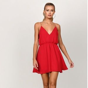 Red Tobi Skater Dress with Lace Detail